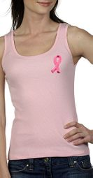 Breast Cancer Ladies Tank Top Embroidered Ribbon Bella Tanktop