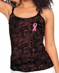 Breast Cancer Awareness Ladies Tank Embroidered Ribbon Tie Dye Tanktop
