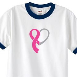 Breast Cancer Awareness Mens Shirt Ribbon Heart Ringer Tee T-Shirt