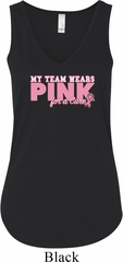 Breast Cancer Awareness My Team Wears Pink Ladies Flowy V-neck Tanktop