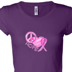 Breast Cancer Awareness Peace Love Hope Ladies Shirts