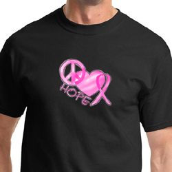Breast Cancer Awareness Peace Love Hope Mens Shirts