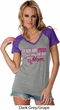 Breast Cancer Awareness Pink for My Hero Ladies Contrast V-Neck Shirt
