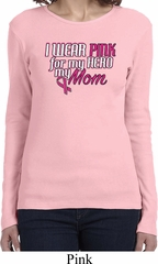 Breast Cancer Awareness Pink for My Hero Ladies Long Sleeve Shirt