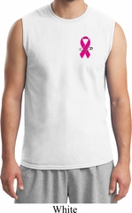 Breast Cancer Awareness Pink Ribbon Pin Pocket Print Mens Muscle Shirt