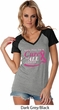 Breast Cancer Awareness Pray for a Cure Ladies Contrast V-Neck Shirt