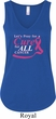Breast Cancer Awareness Pray for a Cure Ladies Flowy V-neck Tanktop