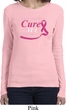 Breast Cancer Awareness Pray for a Cure Ladies Long Sleeve Shirt