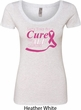 Breast Cancer Awareness Pray for a Cure Ladies Scoop Neck Shirt