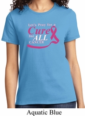 Breast Cancer Awareness Pray for a Cure Ladies Shirt