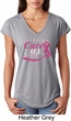 Breast Cancer Awareness Pray for a Cure Ladies Tri Blend V-Neck Shirt