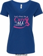 Breast Cancer Awareness Pray for a Cure Ladies V-Neck Shirt