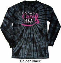 Breast Cancer Awareness Pray for a Cure Long Sleeve Tie Dye Shirt