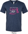 Breast Cancer Awareness Pray for a Cure Mens Tri Blend V-neck Shirt