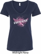 Breast Cancer Awareness Survivor Wings Ladies V-Neck Shirt