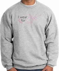Breast Cancer Awareness Sweatshirt - I Wear Pink For Me Heather Grey
