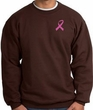 Breast Cancer Awareness Sweatshirt Pink Ribbon Pocket Print Brown
