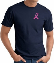 Breast Cancer Awareness T-shirt Pink Ribbon Pocket Print Navy Tee