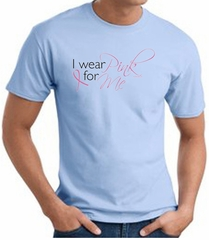 Breast Cancer Awareness T-shirt Ribbon I Wear Pink For Me Light Blue