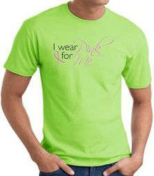Breast Cancer Awareness T-shirt Ribbon I Wear Pink For Me Lime Tee