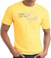 Breast Cancer Awareness T-shirt Wear Pink For My Daughter Yellow Shirt