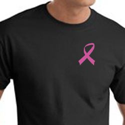 Breast Cancer Awareness T-shirts - Pink Ribbon Pocket Print Shirts