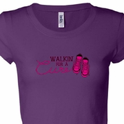 Breast Cancer Awareness Walkin For a Cure Ladies Shirts