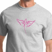 Breast Cancer Awareness Wings Ribbon Mens Shirts