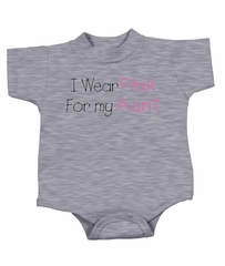 Breast Cancer Baby Romper - I Wear Pink For My Aunt Grey Creeper