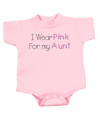 Breast Cancer Baby Romper - I Wear Pink For My Aunt Pink Creeper
