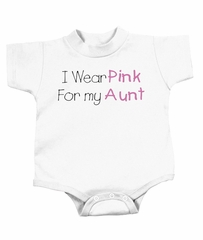 Breast Cancer Baby Romper - I Wear Pink For My Aunt White Creeper