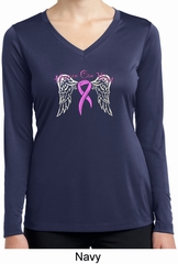 Breast Cancer Heaven Can Wait Ladies Dry Wicking Long Sleeve Shirt