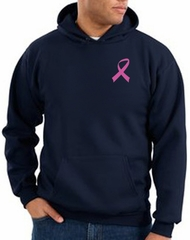 Breast Cancer Hoodie Pink Ribbon Pocket Print Hoody Navy