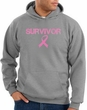 Breast Cancer Hoodie Sweatshirt Ribbon Distressed Survivor Grey Hoody