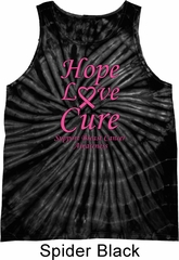 Breast Cancer Hope Love Cure Tie Dye Tank Top