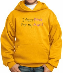 Breast Cancer Kids Hoodie – I Wear Pink For My Aunt Youth Gold Hoody