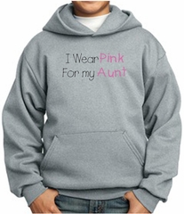 Breast Cancer Kids Hoodie – I Wear Pink For My Aunt Youth Grey Hoody