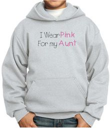 Breast Cancer Kids Hoodie I Wear Pink For My Aunt Youth Hoody