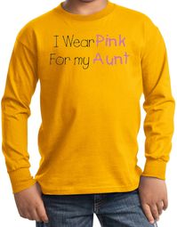 Breast Cancer Kids Long Sleeve T-shirts -  I Wear Pink For My Aunt