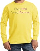 Breast Cancer Kids Long Sleeve T-shirts - I Wear Pink For My Mommy