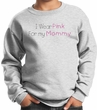 Breast Cancer Kids Sweatshirt - I Wear Pink For My Mommy Youth Ash