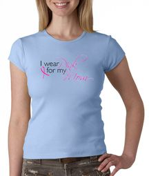 Breast Cancer Ladies Shirt Crewneck I Wear Pink For My Mom Baby Blue
