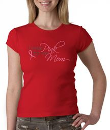 Breast Cancer Ladies Shirt Crewneck I Wear Pink For My Mom Red