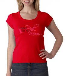 Breast Cancer Ladies Shirt Scoop Neck I Wear Pink For My Mom Red