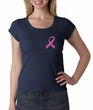 Breast Cancer Ladies Shirt Scoop Neck Pink Ribbon Pocket Print Navy