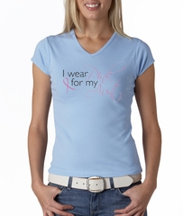 Breast Cancer Ladies Shirt V-neck I Wear Pink For My Aunt Baby Blue