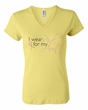 Breast Cancer Ladies Shirt V-neck I Wear Pink For My Aunt Yellow