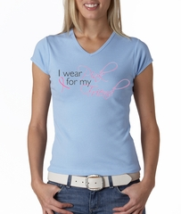 Breast Cancer Ladies Shirt V-neck I Wear Pink For My Friend Baby Blue
