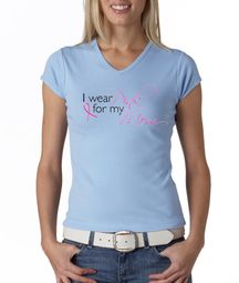 Breast Cancer Ladies Shirt V-neck I Wear Pink For My Mom Baby Blue