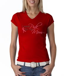 Breast Cancer Ladies Shirt V-neck I Wear Pink For My Mom Red